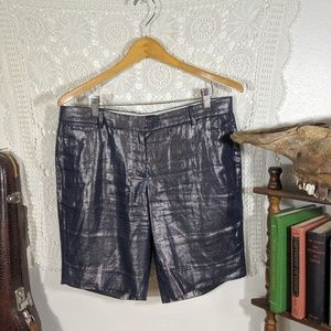 J. Crew metallic blue Bocono chino shorts